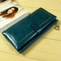 Oil wax han edition twenty percent women's wallet cow leather purse female long wallet authentic zipper wallet