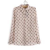 2014 spring and autumn women skull pattern printing chiffon shirt women tops roupas femininas casual woman blouse