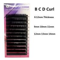 Brand New Eyelash Extension 0.12mm Thickness B/C/D Curl Individual Eyelashes Makeup Tool Mink Lashes Freeshipping