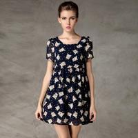 2015 High quality summer new plus size XL-4XL dresses women's fashion drawstring waist owl print short-sleeved chiffon dress