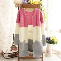 2014 Brand New Winter Women Fashion Sweater Cardigan Mohair Soft Rainbow Patch Open Stitch Top Shirt Coat