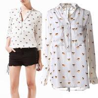 2014 Spring and Autumn women chiffon shirt puppies printed long-sleeve V neck women tops casual blouses shirt