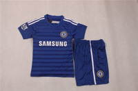 Best quality Chelsea 2014/15 FABREGAS HAZARD DROGBA kids home football shirt DIEGO COSTA TERRY Children/youth Soccer Kit 2015