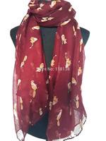 Dark Red Fox Animal Print Animal Scarf Shawl Wrap Women's Accessories, Free Shipping
