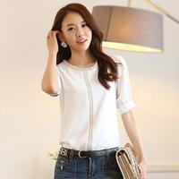 Good Look Casual Half Sleeve Beading Blusas Femininas 2014 Korean O-neck Plus Size White Women Blouses 8265