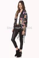 New 2014 Spring Summer Blouses Chiffon Dress Flowers Fringed Kimono Style Cardigan Women chiffon shirt fn353
