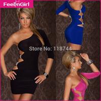 Women's Dresses Black Blue Pink Newest One Shoulder Hollow Out Mini Dress Fall Clubwear 2014 New Bandge Vestidos  Dress