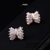 ZSE005  Wholesale 2014 New Innovative item AAA Cubic Zirconia Bowknot Stud Earrings Women Fashion Jewelry  bijoux Christmas POXE