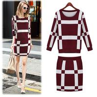 E-Unique Fashion 2014 Elegant Gentlewomen O-Neck Sweater Thickening Female Slim Hip Skirt Twinset WWB11