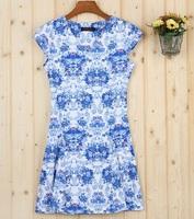2015 summer slim plus size expansion bottom print short-sleeve gentlewomen one-piece dress
