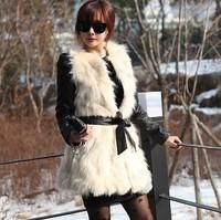free shipping 2014 fashion splicing lace fur vest
