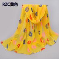 2014 new winter lips printed velvet chiffon silk scarf Ms.
