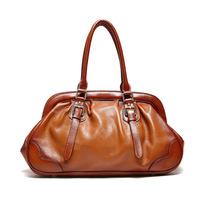 Fashion luxury women bag 100% Genuine leather handbags Vintage Brown High quality leather casual Women Handbag 2015