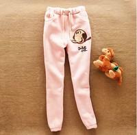 2014 spring and autumn new fashion Korean women wild Oliver fleece warm thick elastic trousers