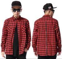 Red Plaid Long Sleeve Flannel shirt Men/ Hip Hop Streetwear Dance Bboy Shirt Back Zipper/ Plaid Lengthen Drop Shirt Man