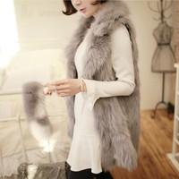 A long section of 2014 new ladies fashion charming imitation fox fur vest lapel vest in