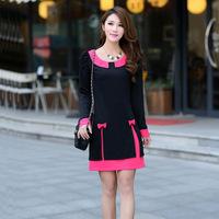 plus size XL XXL XXXL 4XL2015 new spring and antumn fashion long sleeve women's Korean casual dress doll collar