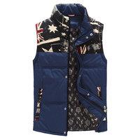 Big Size M-5XL 2014 new winter men's casual vests Fashion rice word printing Mens Stand collar waistcoat Man sleeveless jacket