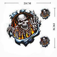 3PCS  Skull Tank Sticker Middle Finger Car Motorcycle Skull CrossBones Decals
