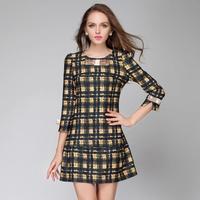 plus size L XL 2XL 3XL 4XL 2015 fashion party dress spring Autumn new  women plaid loose casual dress  lady work office dresses