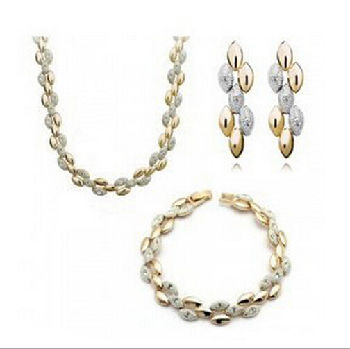 Women Jewelry sets Chains Necklace fashion bracelet earrings wheat series Wedding gold fashion Pendant Necklace XL1514(China (Mainland))