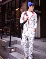Autumn and winter male cardigan thermal plus velvet sweatshirt sports set teenage print casual wear
