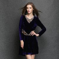 2014 Autumn fashion plus size women's new silm high-grade velvet leopard purple stitching hot dresses  XL-4XL