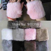 2014 New Women Hand winter warm imitation rabbit fur Half gloves Computer fingerless maomao short gloves wholesale Free Shipping
