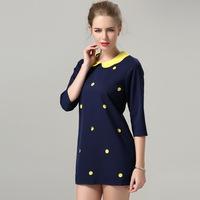 2014 new fashion European and American women's dress was thin female Hitz dot dress plus size  polka dot Print dress  M-4XL