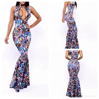 2014 Fashion Autumn Sexy Dress  Deep V Neck Sleeveless Mermaid print Evening dress YH9029 S M L Plus Size