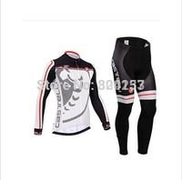 Free Shipping!2014 Men CASTELLI Ropa ciclismo long cycling jersey Bicycle bicicleta maillot shirt clothing (bibs) pants set
