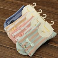 Ladies cotton socks 5 colors cute new winter socks Absorbent , odor Sweet bow bars socks 5pairs/lot free shipping 9421