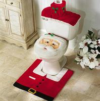 New High Quality Santa Claus Elf Christmas Xmas Holiday Costume Bath Set Mat Toilet Decoration Covers