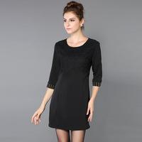 2014 latest fashion women's temperament European leg of autumn orange stitching black lace half Sleeve dress plus size M-3XL