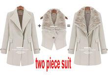 2014 new Europe America winter warm fur collar long sections thicker British style wool women coat trench Vest+windbreaker(China (Mainland))