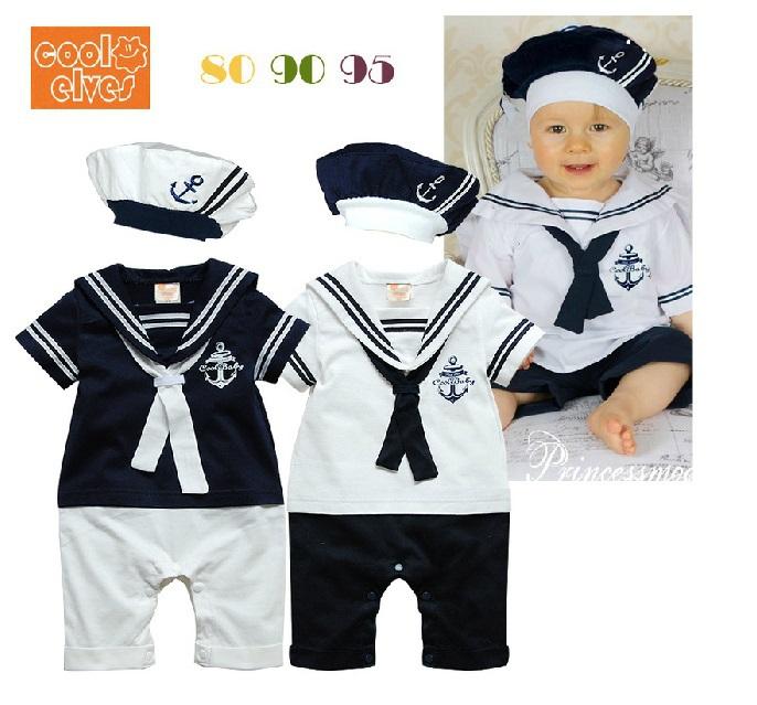Verão recém-nascido estilo Navy bebê meninos meninas macacão + chapéu 2 Pcs marinheiro de manga curta conjunto do miúdo Rompers crianças macacão terno(China (Mainland))