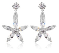 AAA zircon stud earring for women korean style jewerlry flower stud earring for women new design 18k white gold plated M137