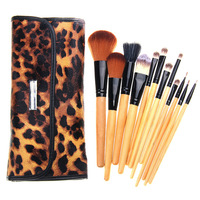 Top Quality Professional 12 pcs Makeup Brush Set tools Make-up Toiletry Kit Wool Brand Make Up Brush Leopard Leather PU Bag Case