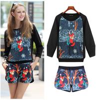 E-Unique New 2014 Vintage Print Casual Long-Sleeve Top Fashion Plus Size Shorts Set Female Twinset Plus Size XXL XXXL WWB12