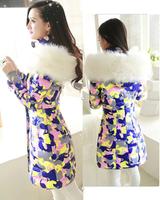2014 Camouflage medium-long down coat female slim thickening fur collar Women winter outerwear plus size