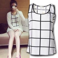 Women blouses 2014 new summer sleeveless chiffon shirt white and black plaid printed blusas femininas chiffon blouse S-XXXL