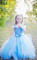 Europe and the United StatesNew Designer Children Frozen Dress Blue Sleeveless Condole belt dress Cute Girls blue color cusume