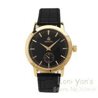 Fashion Orkina Gold Case Black Dial Watch Man Quartz Watches Leather Unisex Watch Wristwatch Free Ship