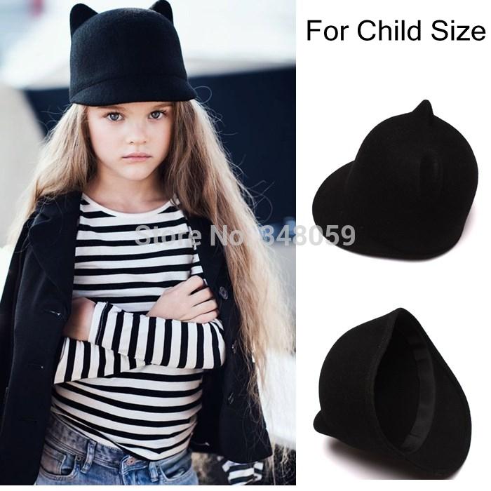 100% Wool Girls Fedora Hat Winter Black Devil Horns mickey Cat ear animal Derby Bowler lovely Cap for Chilren Gift(China (Mainland))