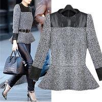 2014 New Autumn fashion woman Stitching PU leather Flounced Ruffles hem knit Sweater pullover Sweaters