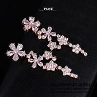 ZSE010  Wholesale 2014 New Luxury Long  AAA Cubic Zirconia Flowers Stud Earrings Women Christmas Gift  POXE
