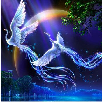 Новинка: 5D фотография с влюбленными птицами феникс для самостоятельной вышивки из страз.