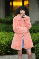 2014 new hot sell rex rabbit fur long design coat