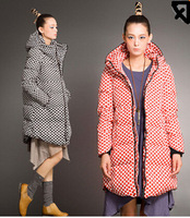 2014 new women's winter jackets casual wave point printing long section of thick down jacket coat