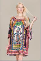 NEW Multi Color Boho Hippie Print Dress maxi dress